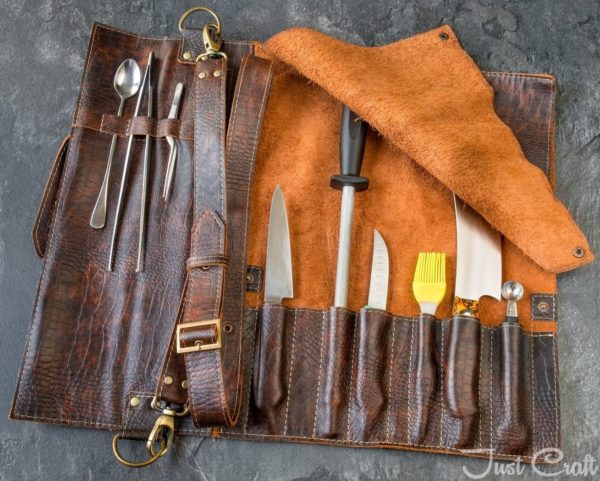 Chef's Knife roll Dundee Patina