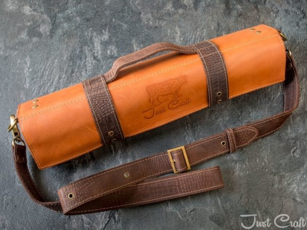 Knife roll Krast Terracotta (Dundee leather straps Chocolate)