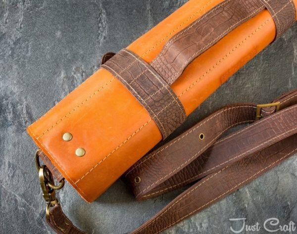 Knife roll Krast 'Terracotta' (Dundee leather straps 'Chocolate')