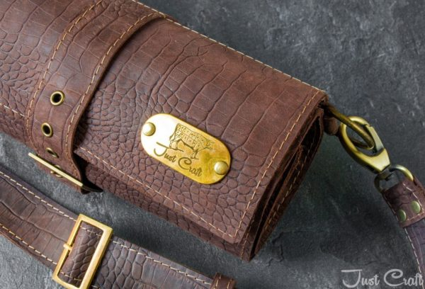 Leather Knife Roll Dandee Chocolate
