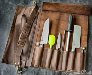 Chef's Knife roll Chocolate (for 6 knives)
